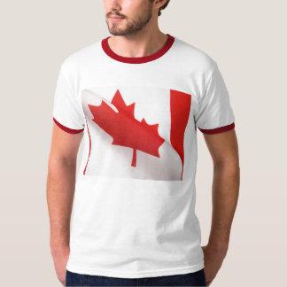 curved Canada flag men ringer t-shirt