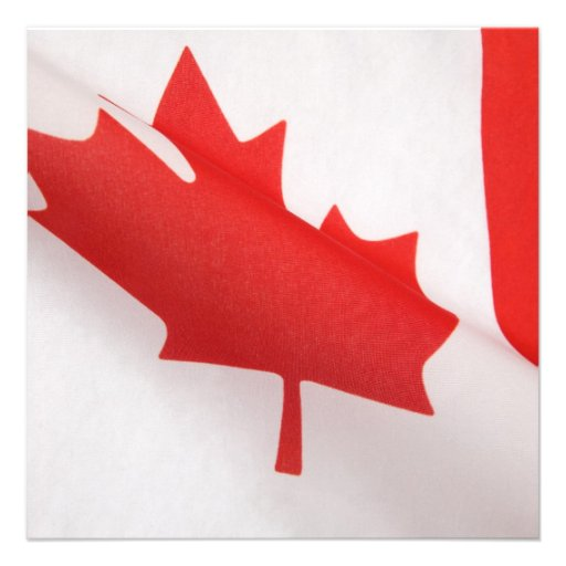 curved Canada flag square invitation