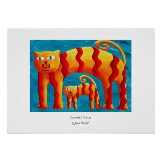 Curved Cats Print Poster