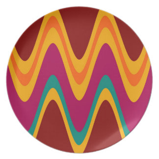 Curved Colorful Rainbow Abstract Retro Art Deco Plate
