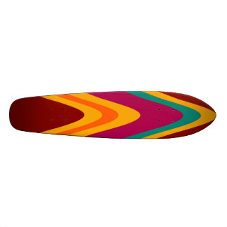 Curved Colorful Rainbow Abstract Retro Art Deco Skateboard