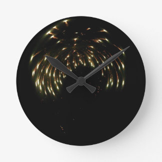 Curved Fireworks Round Clock