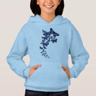 Curved flight of pretty blue butterflies hoodie