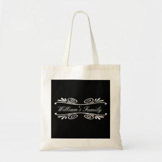 Curved Floral Damask Vintage Personalized Tote Bag
