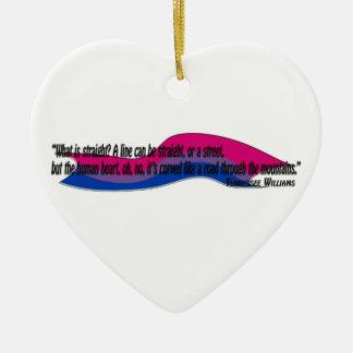 Curved Heart/Bi Pride Ceramic Ornament