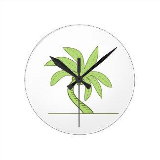 Curved Palm Tree Mono Line Round Clock