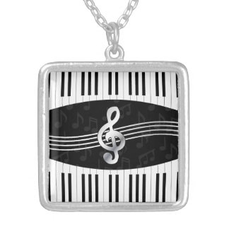 Curved Piano keys and treble clef Silver Plated Necklace