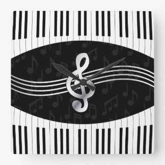Curved Piano keys and treble clef Square Wall Clock