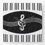 Curved Piano keys and treble clef Square Wallclocks