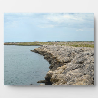 curved rock barrier island in florida ft pierce photo plaque