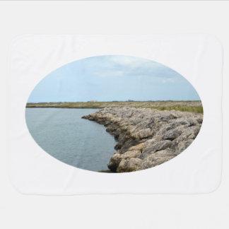 curved rock barrier island in florida ft pierce receiving blanket