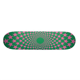 Curved Stars (Pink/Green) Skateboard Deck