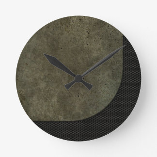 Curved Steel Plate Graphic on Industrial Mesh Round Clock