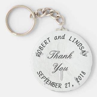 Curved Text Sand Dollar Wedding Favor Basic Round Button Keychain