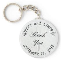 Curved Text Sand Dollar Wedding Favor Keychain