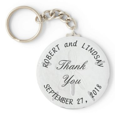 Beach Themed Curved Text Sand Dollar Wedding Favor Keychain