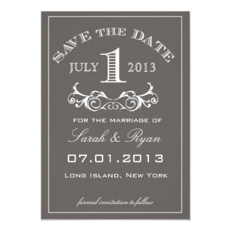 Curved Text & Swirl Grey Save the Date Day 1 Card