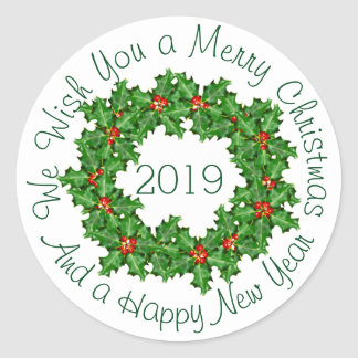 Curved Text White Christmas Envelope Seal Classic Round Sticker