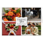 Curved thank you 4 photo montage personal note greeting card