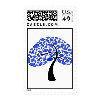 curved trunk simple leaf blue  tree.png postage stamps