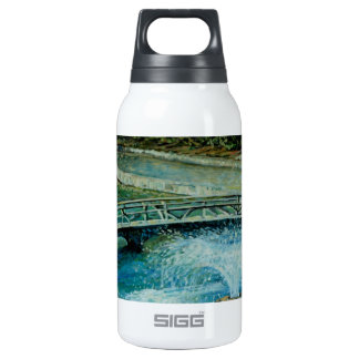 Curved Walking Bridge with Fountain Art Insulated Water Bottle