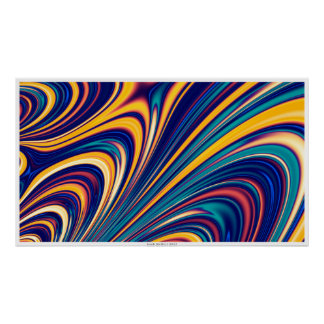 Curved Waves Flowing Lines Poster