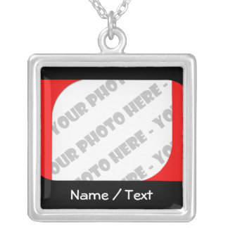 Curves Photo & Text Necklace - Create Your Own