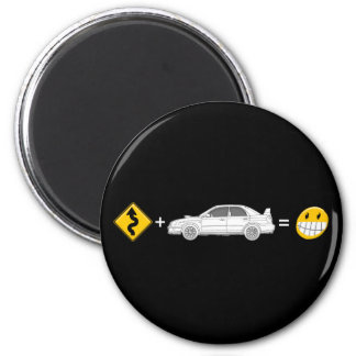 Curves, Subaru, equals fun 2 Inch Round Magnet