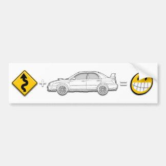 Curves, Subaru, equals fun bumper sticker Car Bumper Sticker