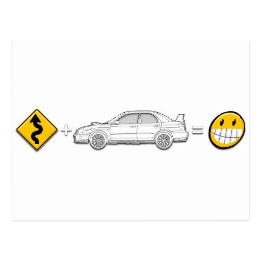 Curves, Subaru, equals fun Post Card