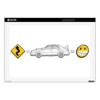 "Curves, Subaru, equals fun Decal For 17"" Laptop"