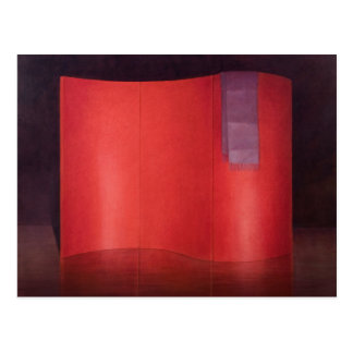 Curving red lacquer screen postcard