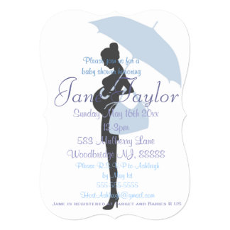 Curvy Blue Silhouette Baby Shower Invitations