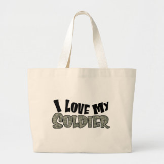 Curvy I Love My Soldier Large Tote Bag