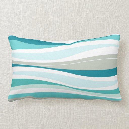 Curvy Lines aqua designer Pillows