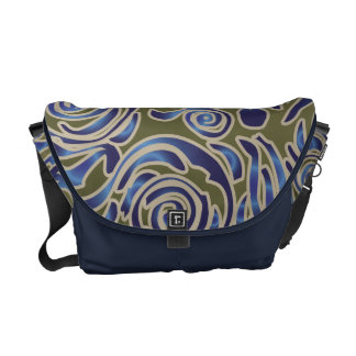 Curvy Lines Batik Blue Messenger Bag