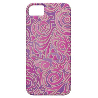 Curvy Lines Batik Pink iPhone 5 Case