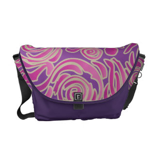Curvy Lines Batik Pink Messenger Bag