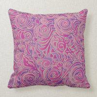 Curvy Lines Batik Pink Pillow