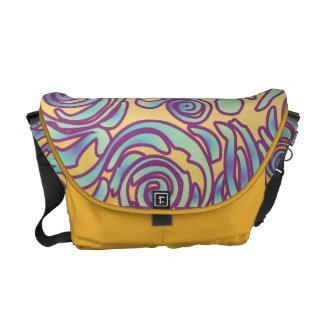 Curvy Lines Batik Purple Messenger Bag