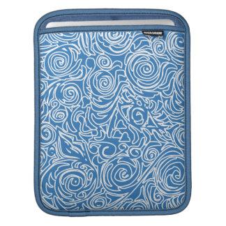 Curvy Lines Blue iPad Sleeve