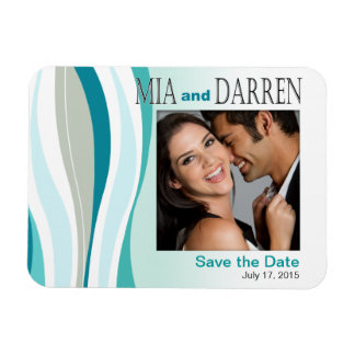 Curvy Lines Photo Save the Date aqua Magnet