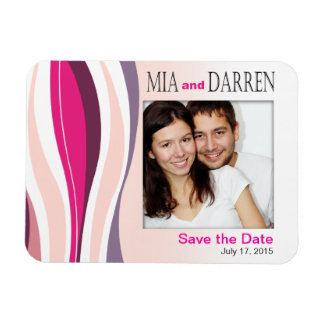 Curvy Lines Photo Save the Date fuschia Rectangular Photo Magnet