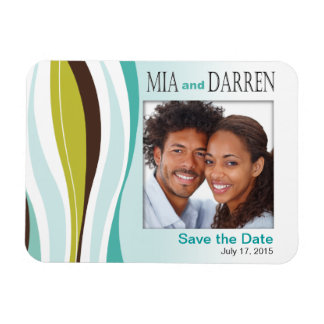 Curvy Lines Photo Save the Date teal olive Magnet