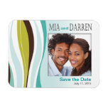 Curvy Lines Photo Save the Date teal olive Rectangle Magnets