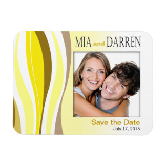 Curvy Lines Photo Save the Date yellow Rectangular Photo Magnet