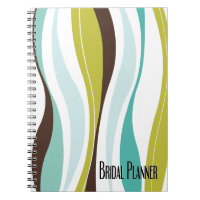 Curvy Lines teal olive bridal planner Note Books