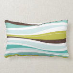 Curvy Lines teal olive designer Throw Pillow
