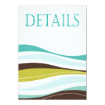 Curvy Lines Wedding Directions teal olive 4.5x6.25 Paper Invitation Card