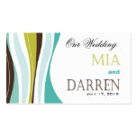 Curvy Lines Wedding Website teal olive Double-Sided Standard Business Cards (Pack Of 100)